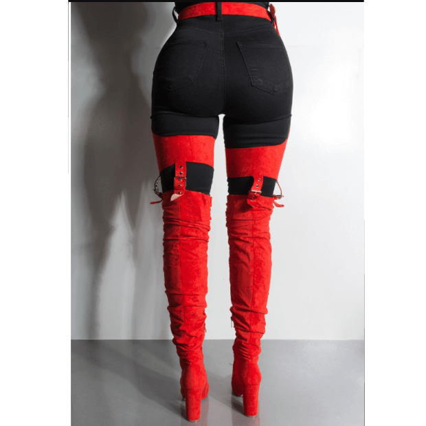 High Heel Buckle Patchwork Thigh High Club Boots