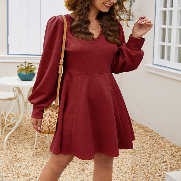 Elegant Long Sleeve Empire Waist Plain Mini Dress