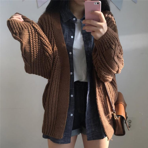 Slouchy Cable Knit Long Sleeve Cardigan