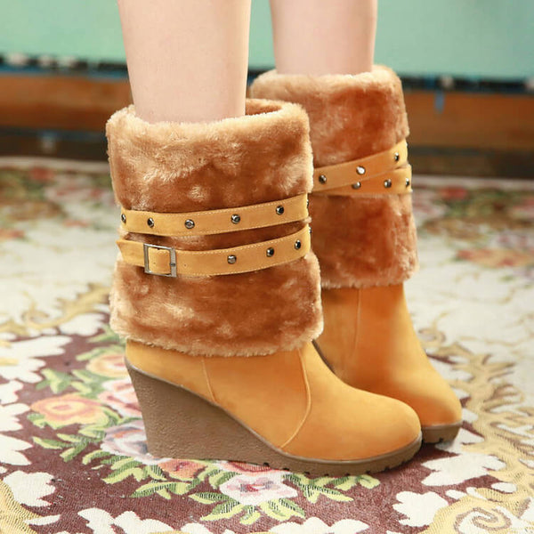 High Heel Wedge Suede Knee High Boots