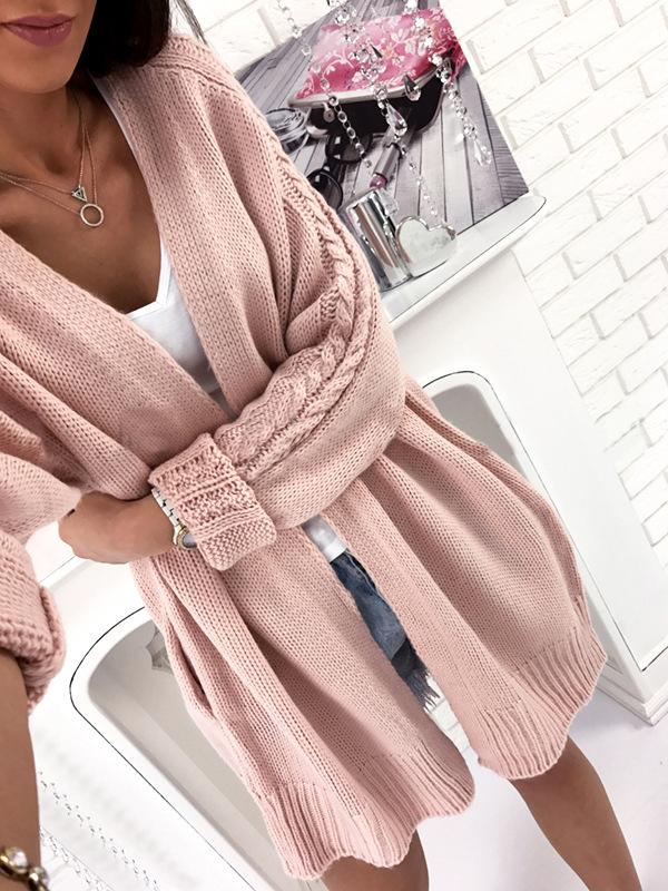 Solid Color Lable Knit Long Batwing Sleeves Women Oversized Cocoon Cardigan