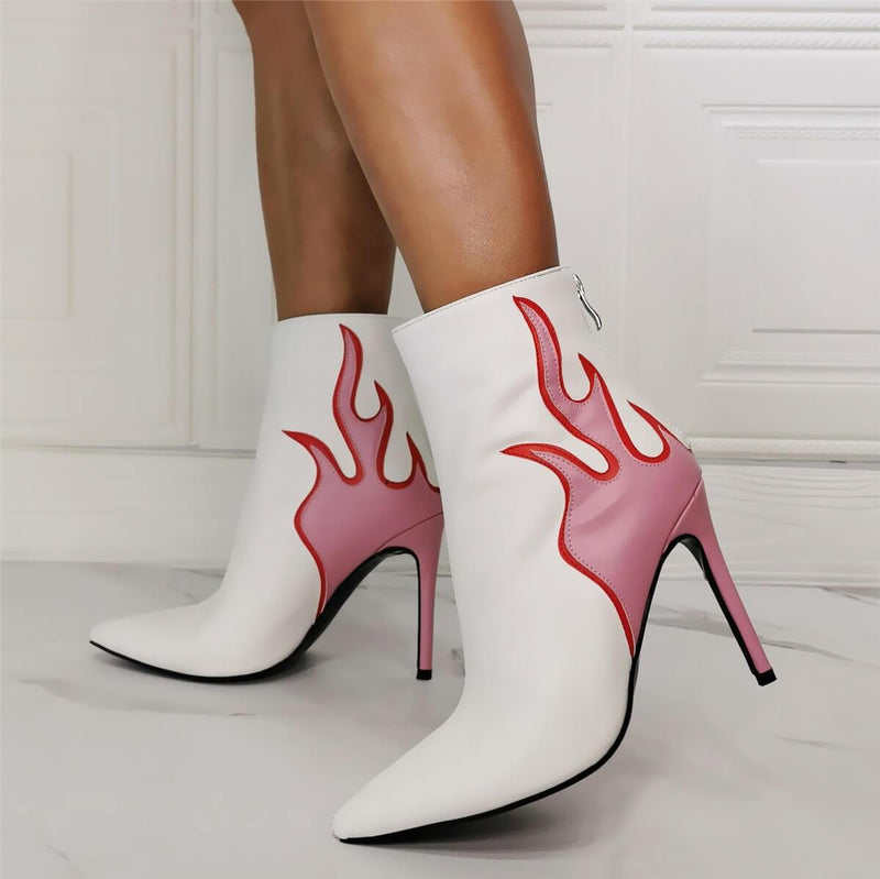 White PU Point Toe Fire Print High Heel Boots