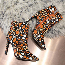 Leather High Heel Pointed Toe Print Boots
