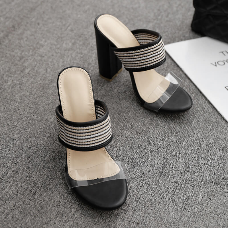 Leather High Heel  Chunky Heel Sandals