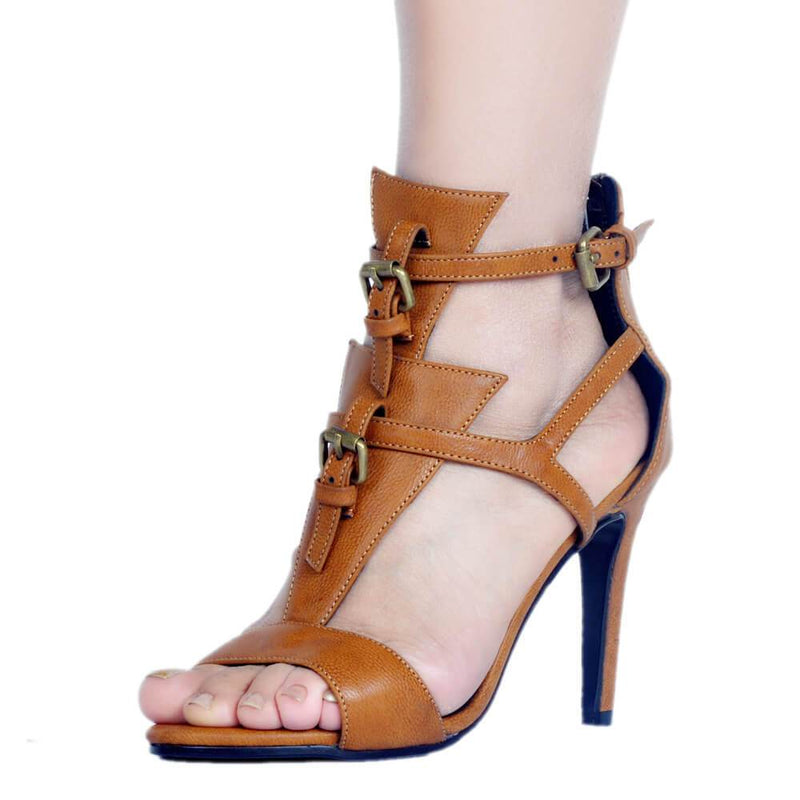 Brown Leather Buckle Cutout Round Toe Sandals