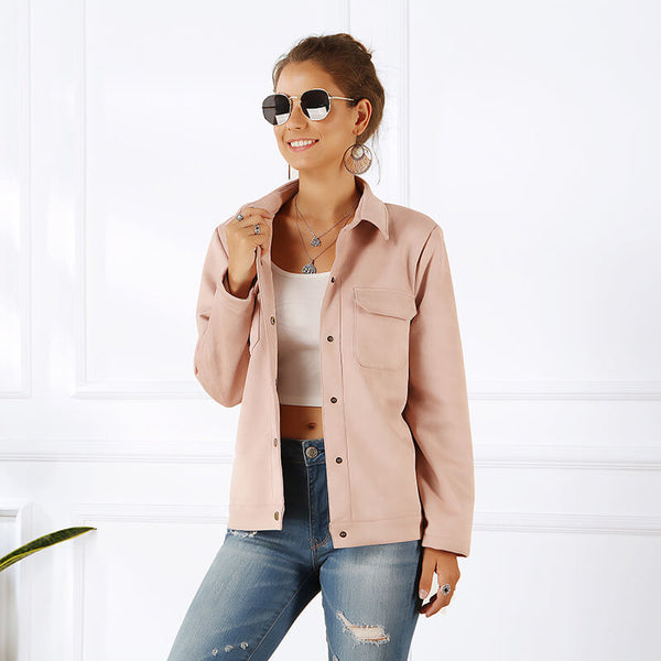 Plain Plus Size Shirt Jacket