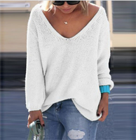 V-neck Loose Knit Pure Color Pullover Sweater - Oh Yours Fashion - 7