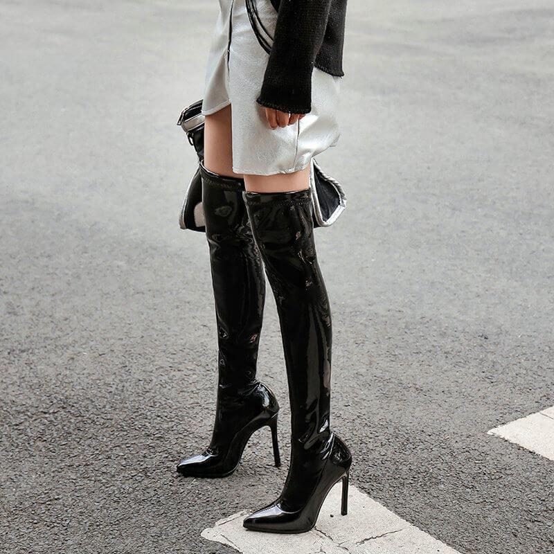 Patent Leather High Heel Pointed Toe Over Knee Boots