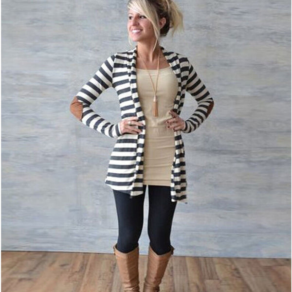 Long Sleeves Striped V-neck Patchwork Cardigan