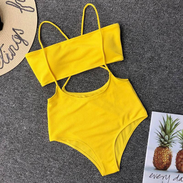Bright Color Padded Top High Rise Triangle Tube Bikinis