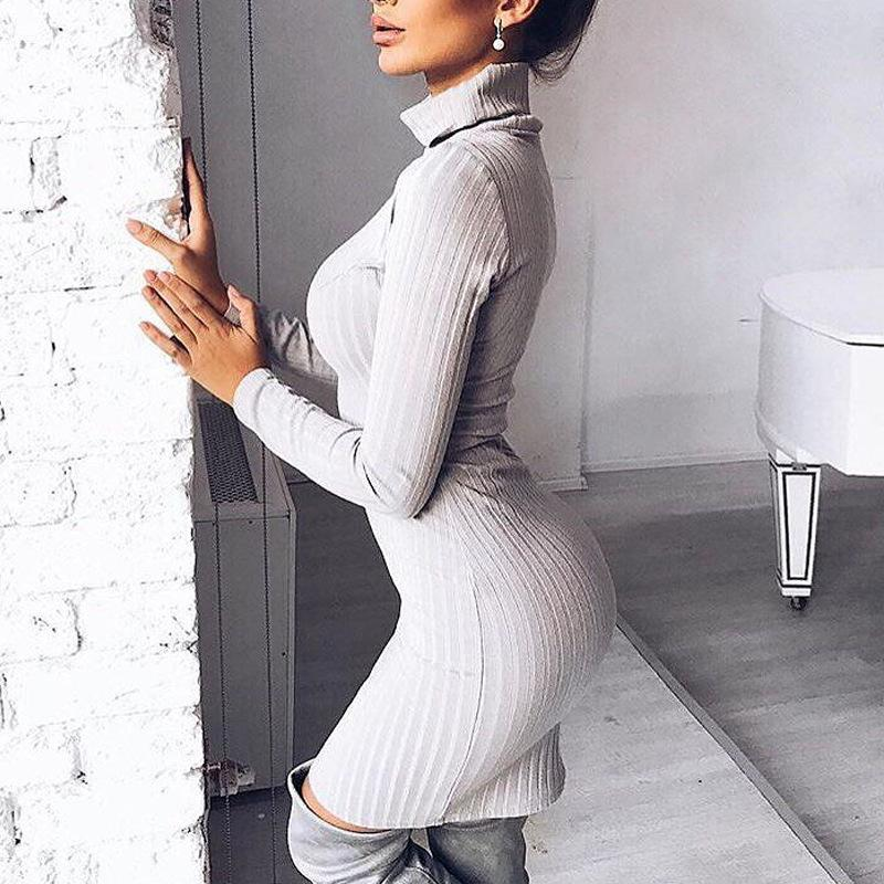 Simple Solid Color Turtleneck Slim Women Pullover Sweater Dress