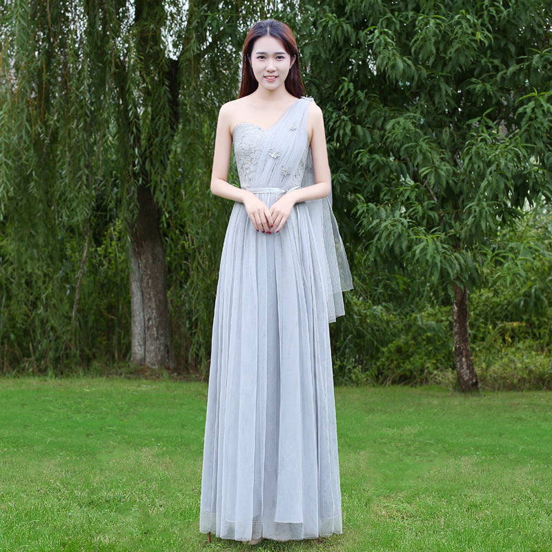 One Shoulder High Waist Lace Patchwork Long Pleated Party Bridesmaid Dress