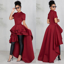 Short Sleeves Solid Color High Waist Irregular Women Long Dress