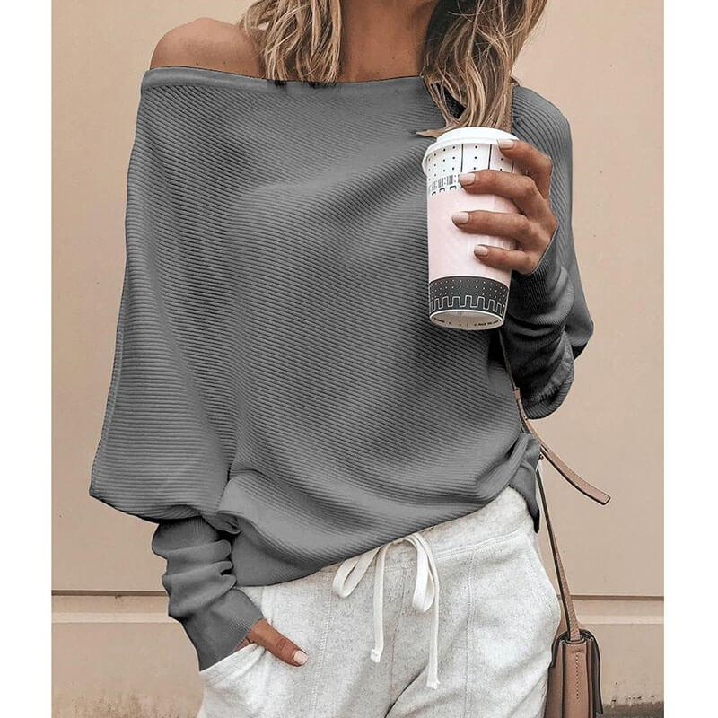 Scoop Neck Batwing Pollover Sweater