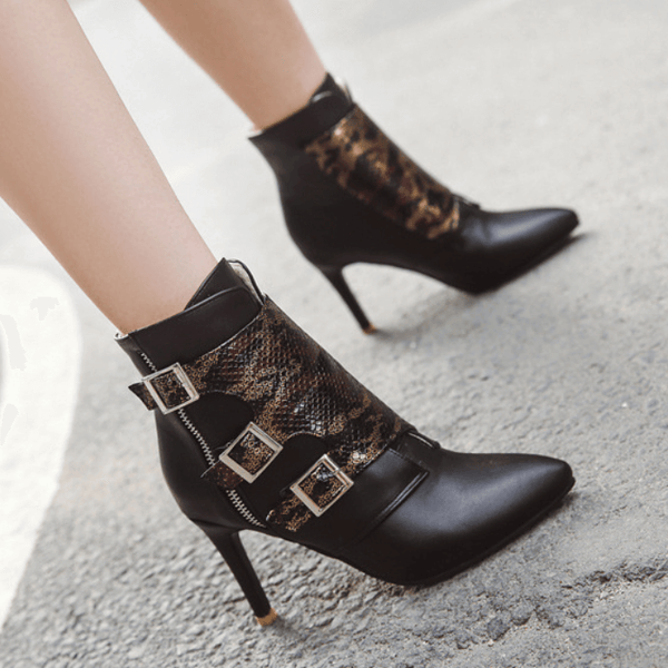 Leather Snakeskin Buckle High Heel Ankle Boots