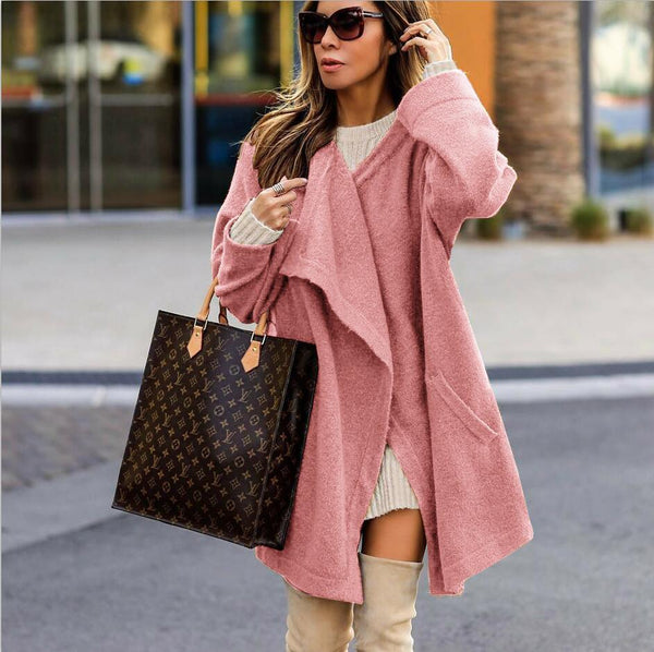 Lapel Pockets Loose Women Oversized Cardigan Coat