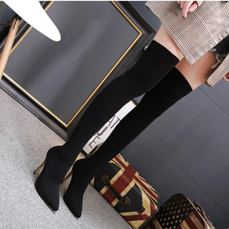 Black High Heel Pointed Toe Sock Over Knee Boots