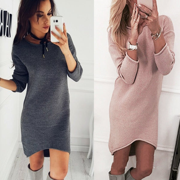 Solid Color Simple Style Slim Oversized Long Sweater Dress
