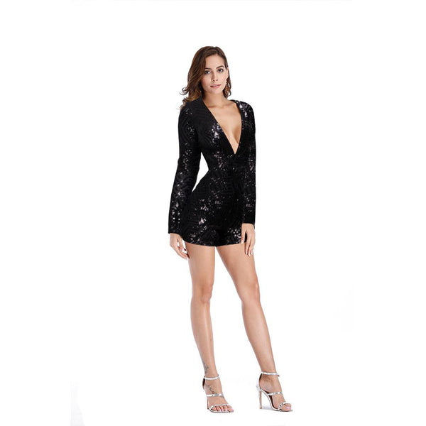 Sequins Deep V-neck Short Slim Jumpsuits