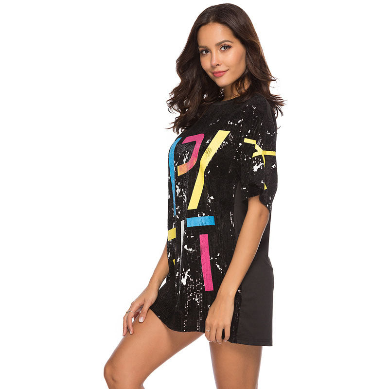 Casual Loose Sequin Short Dress
