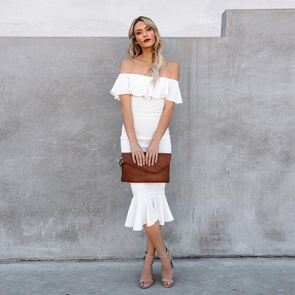 Off Shoulder Skinny Ruffle Hem Dress