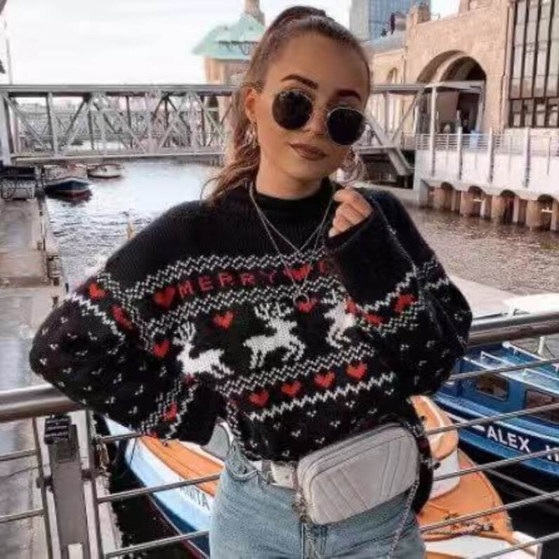 Cute Reindeer Knit Christams Sweater