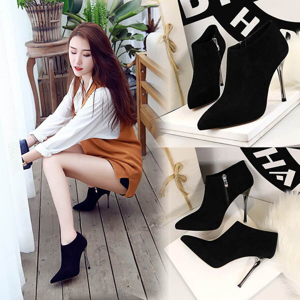 Winter Suede Point Toe Zipper High Heel Ankle Boots