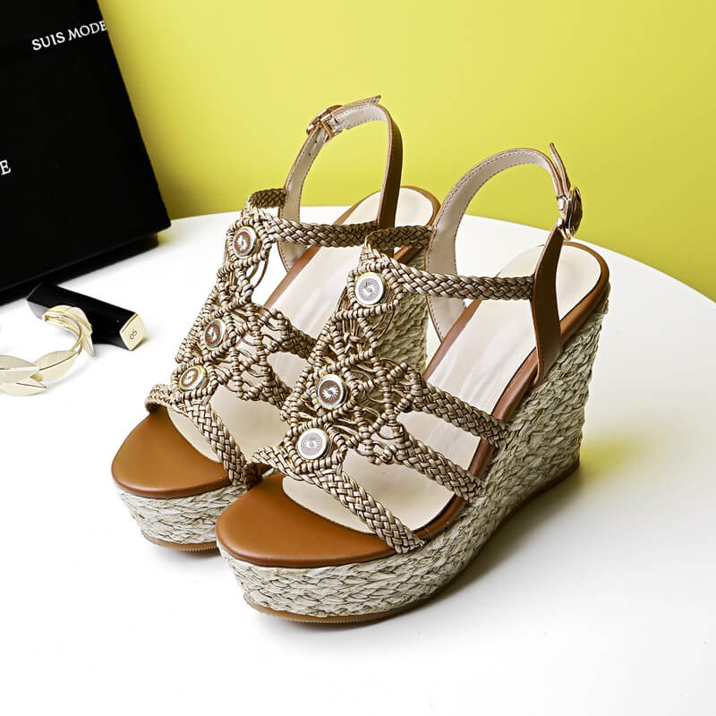 Summer Wedge Espadrille Open Toe Sandals