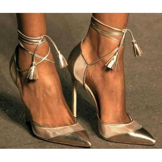 Free Shipping Clearence Shinning Ankle Wrap Straps Tassels Pointed Toe Stiletto High Heels
