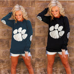 Bear's-Paw Print Long Sleeves Blouse