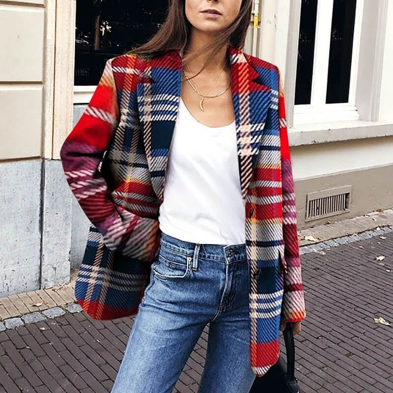 Lapel Colorblock Plaid Midi Blazer