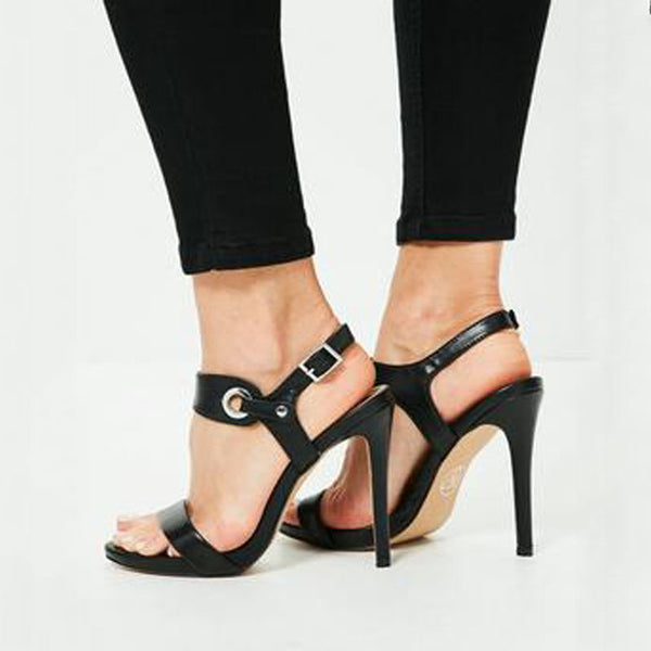 Causal Black Leather Buckle Open Toe High Heel Sandals