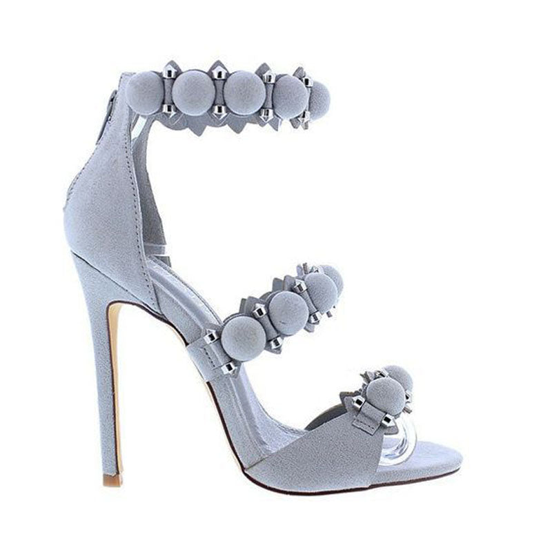 Suede Rivet Open Toe High Heel Sandals
