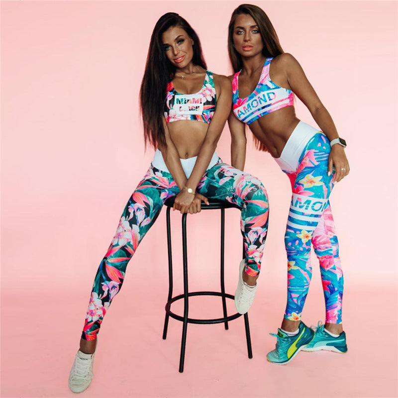 3D Print Crop Top with Low Waist Leggings Women Yoga Sports Two Pieces Set