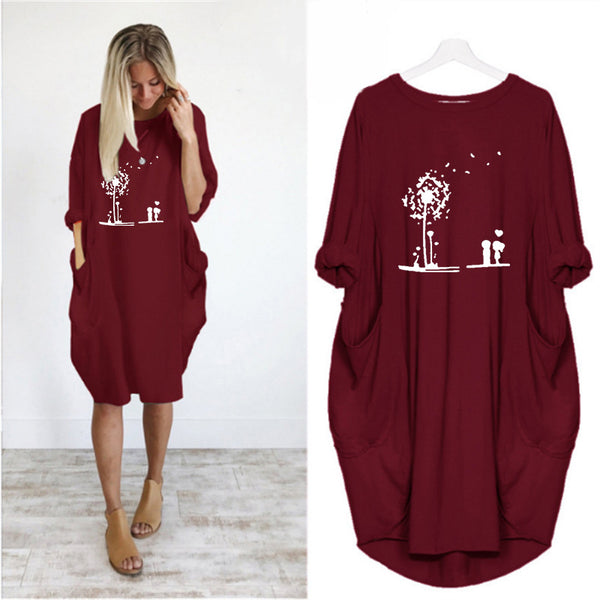 Loose Christmas Print Sweatshirt Midi Dress