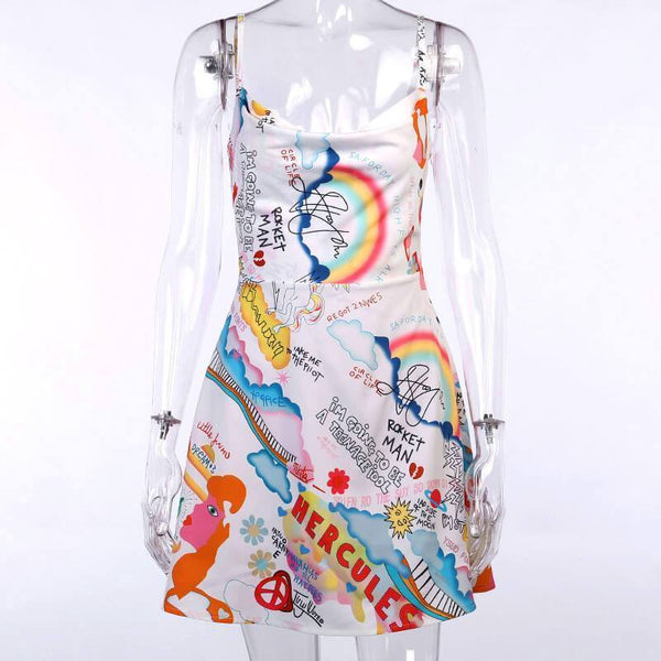 Graffiti Sling Short Dress