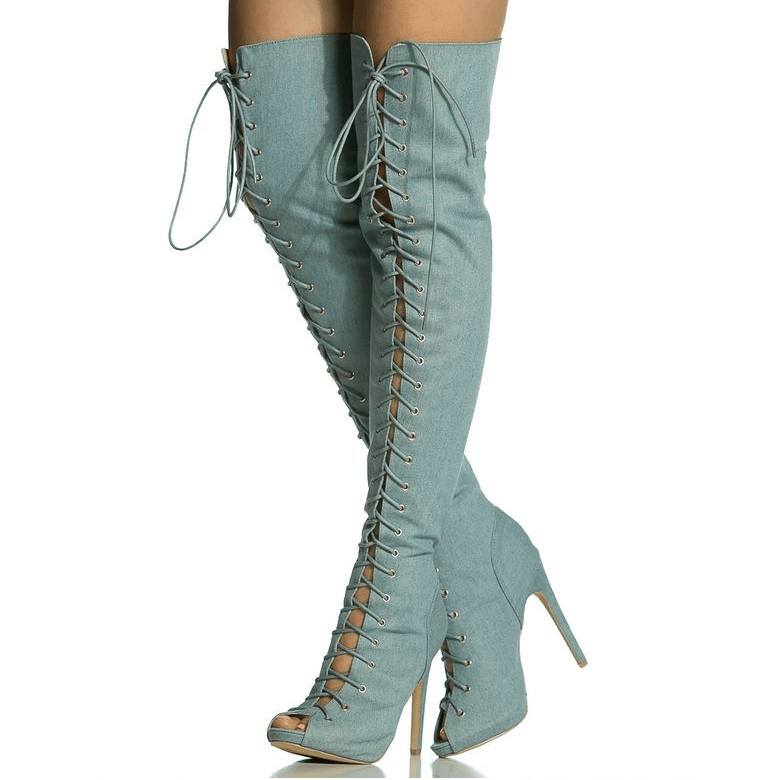 Peep Toe Cutout Lace Up Over knee Boots