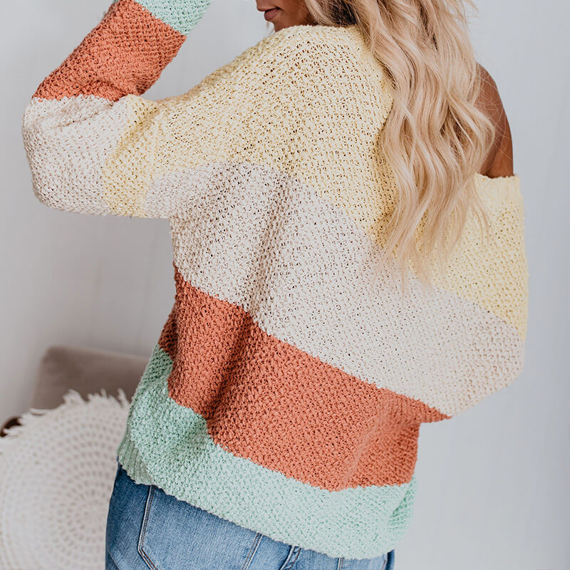 Oversized Scoop Neck Colorblock Knit Sweater