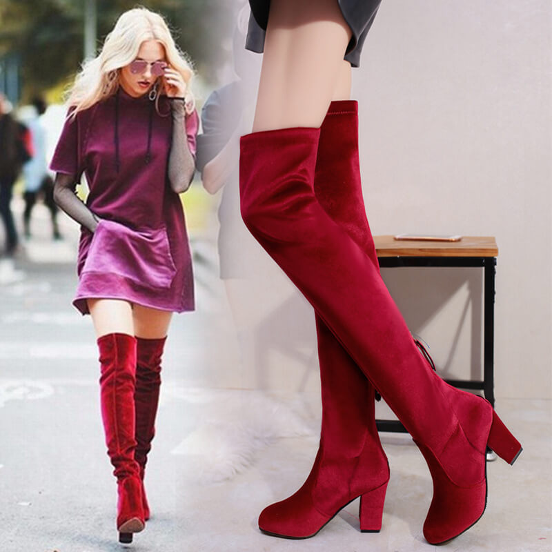 Over Knee Block High Heel Suede Boot