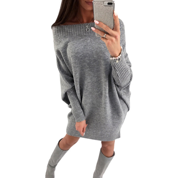 Scoop Batwing Sleeves Women Oversized Sweater