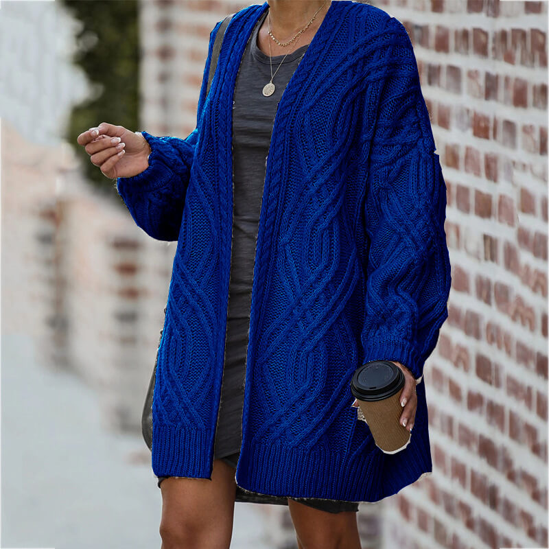 Loose Cable Knitted Sweater Cardigan