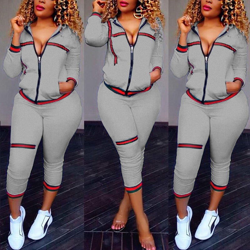 Patchwork Zipper Sweatshirt 3/4 Skinny Pants Women Two Piece Set