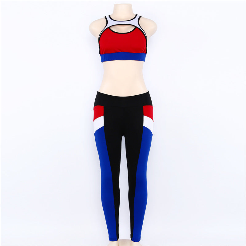 Color Block Crop Top with Low Waist Leggings Women Two Pieces Yoga Sports Set