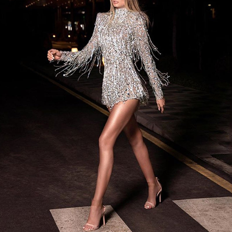Free Shipping High collar Sequin long sleeve Sequin Party Dress