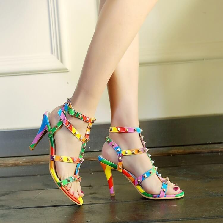 Colorful Rivets Pointed Toe Stiletto High Heels Party Shoes