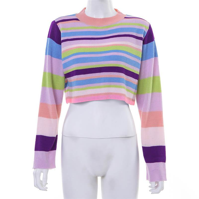 Stripes Color Patchwork Loose Scoop Women Pullover Sweater