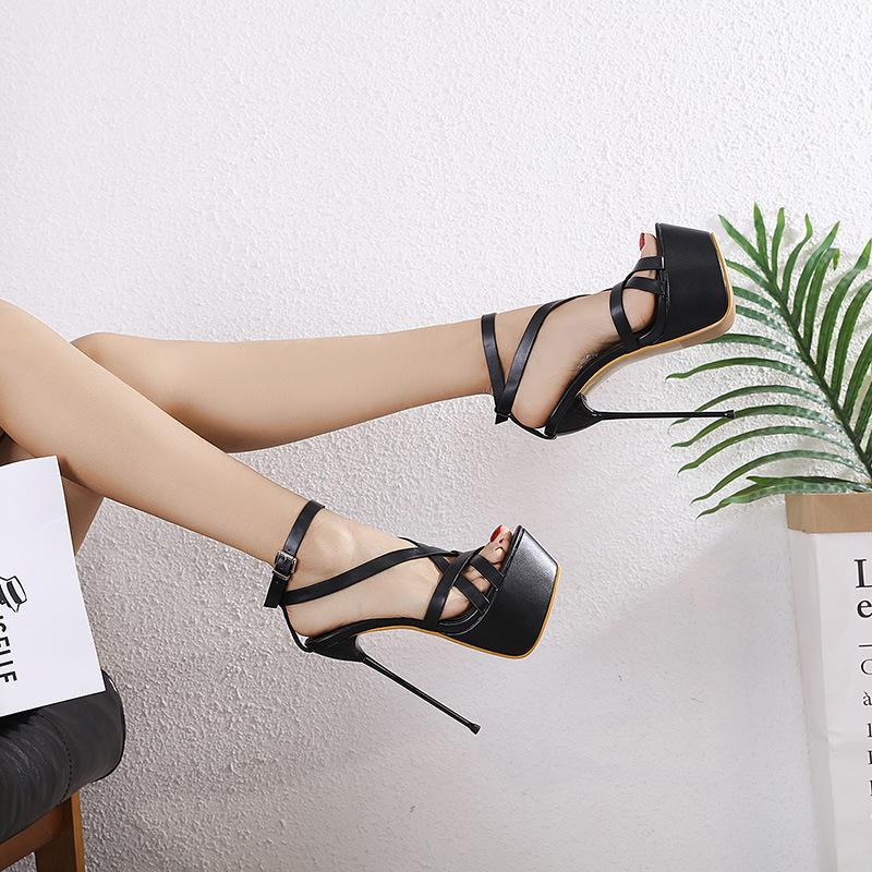 Super High Slim Heel Crossed Sandals