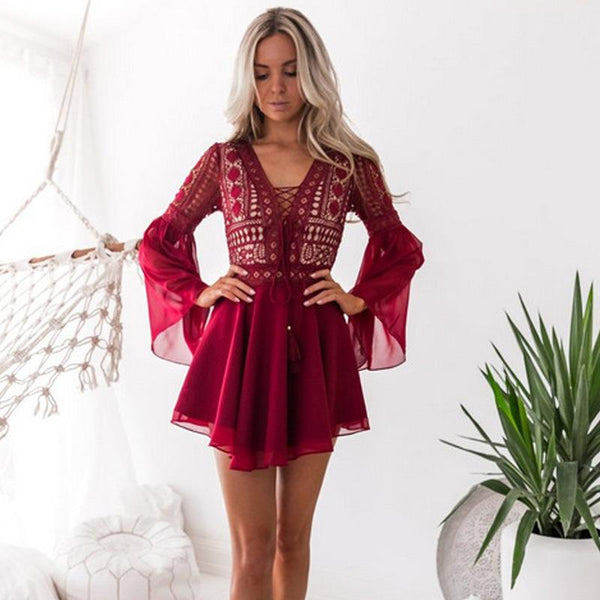 V Neck Lace Chiffon Dress