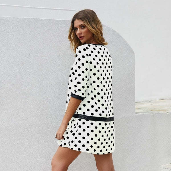 Polka Dot Leather Patchwork Dress