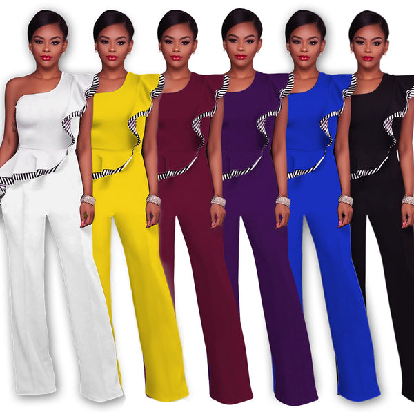 Pure Color One Shoulder Ruffles Wide-legs Long Jumpsuit